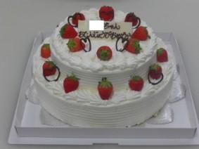 デコレーション8号(24㎝)と6号(18㎝)の豪華2段ケーキ