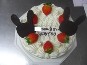 特注 「うさぎの形のチョコのせケーキ」