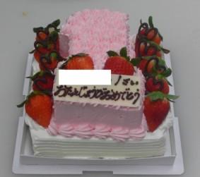 生クリーム15㎝×15㎝と数字「1」の2段ケーキ